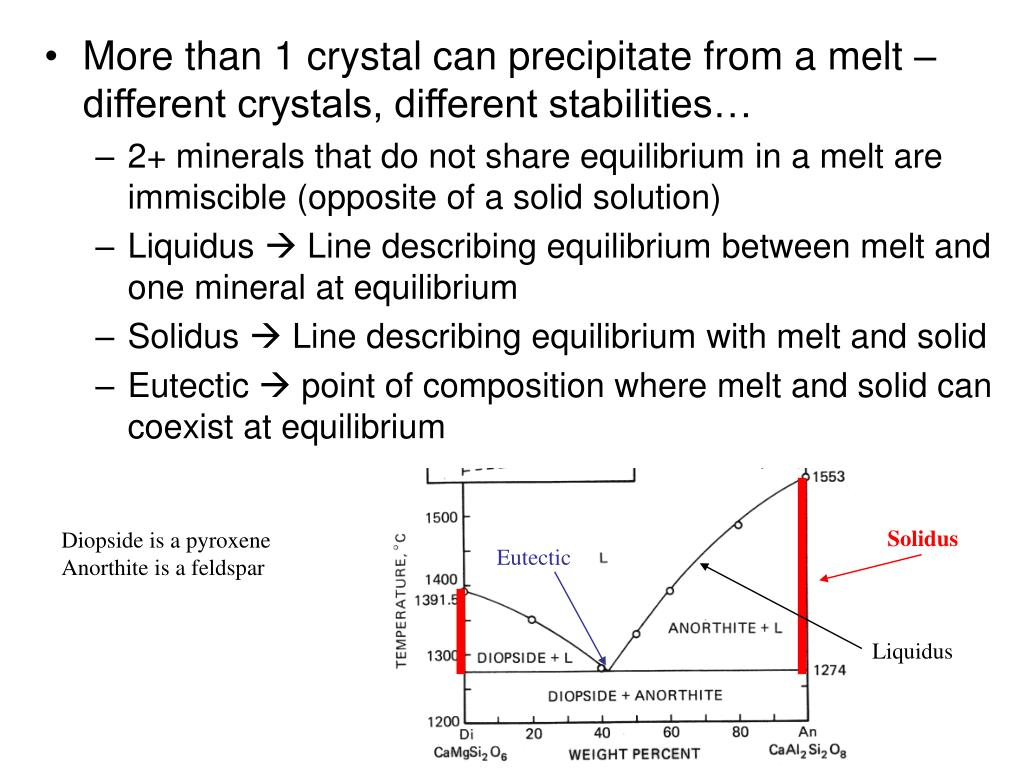 More than 1 crystal can precipitate from a melt – different crystals, different stabilities…