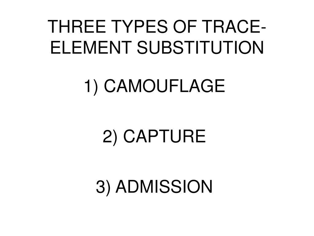 THREE TYPES OF TRACE-ELEMENT SUBSTITUTION