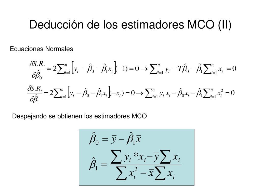 Deducción de los estimadores MCO (II)