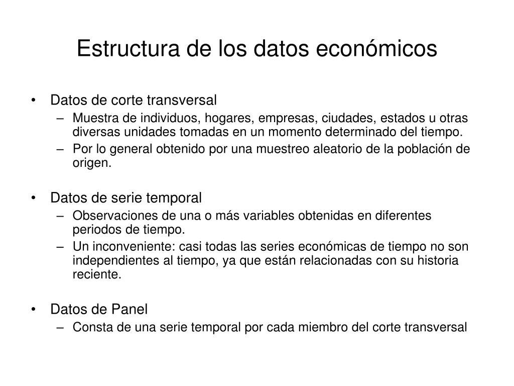 Estructura de los datos económicos