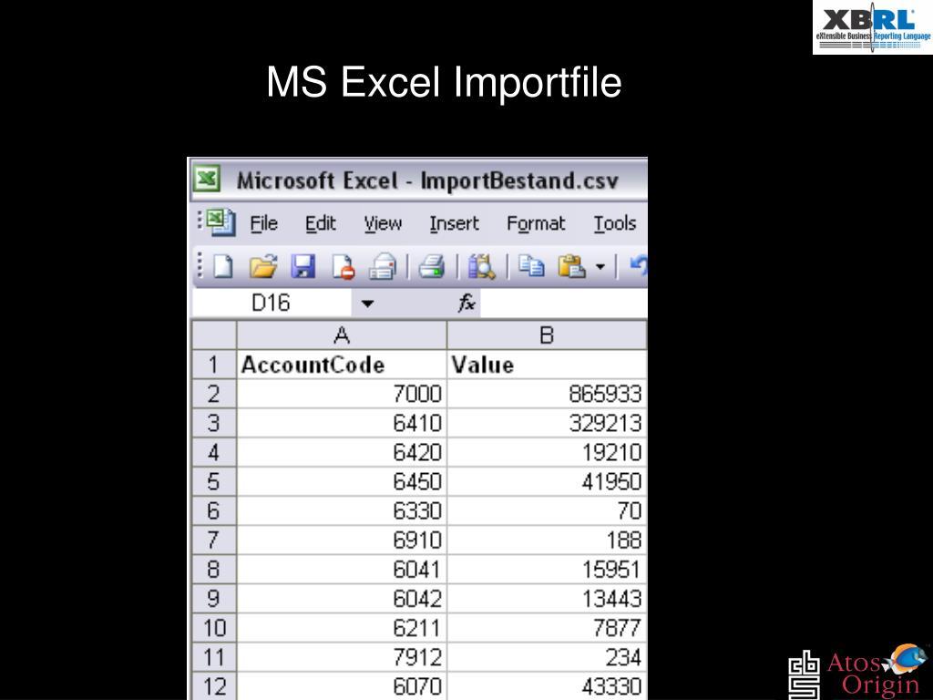 MS Excel Importfile