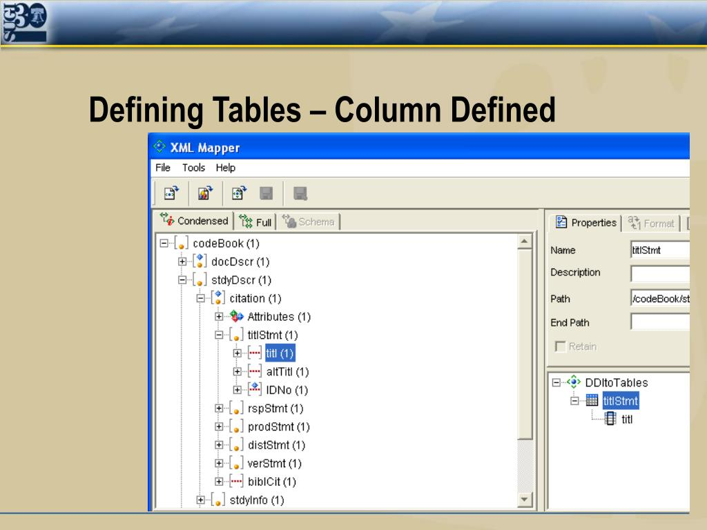 Defining Tables – Column Defined