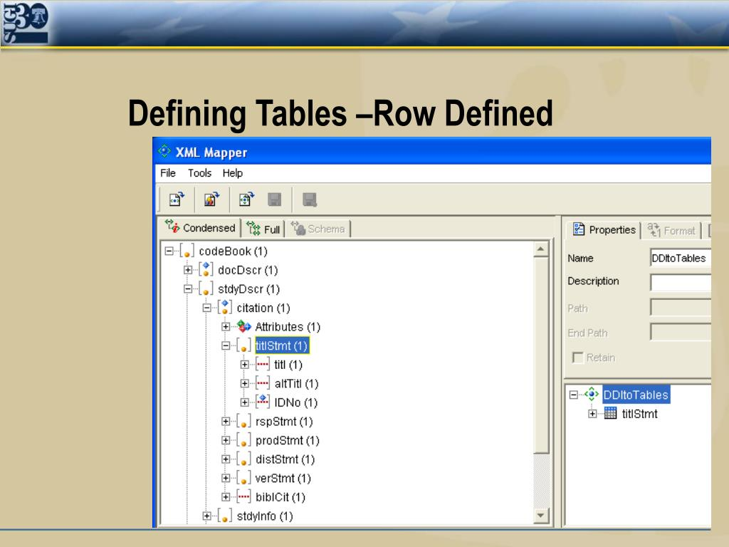 Defining Tables –Row Defined