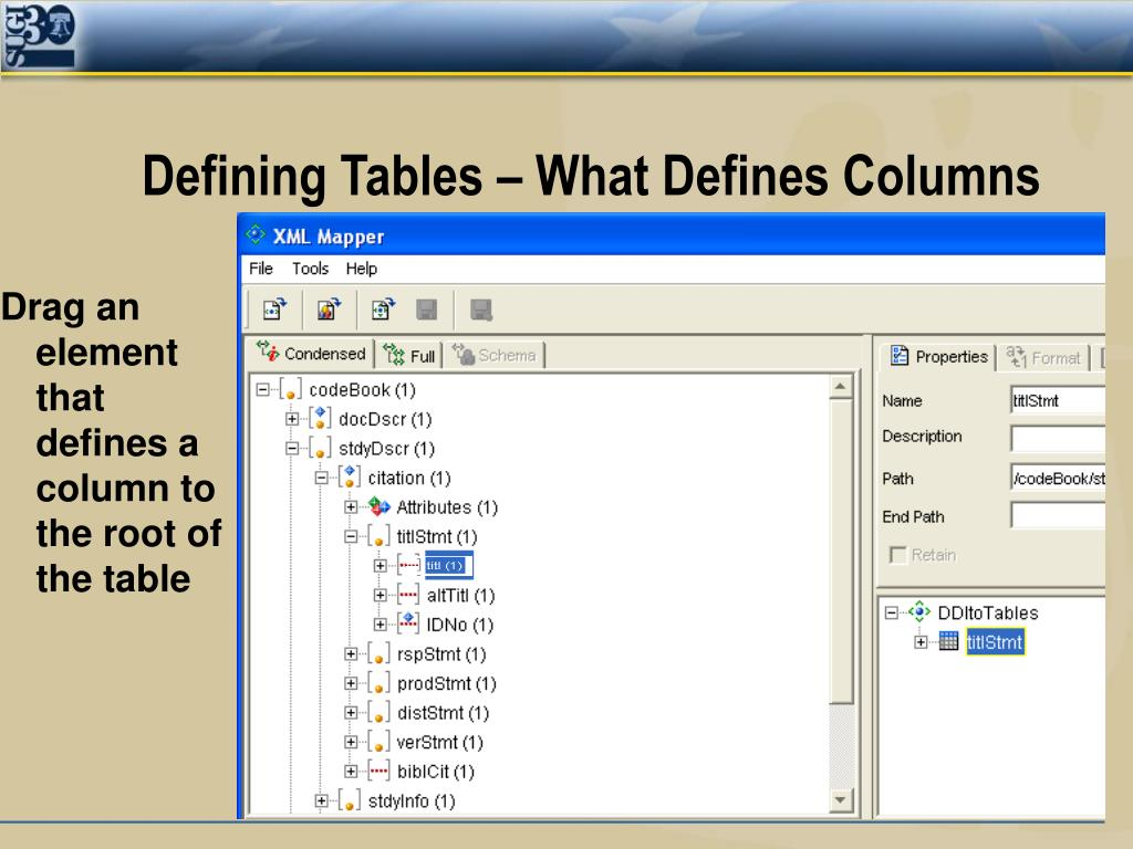 Defining Tables – What Defines Columns