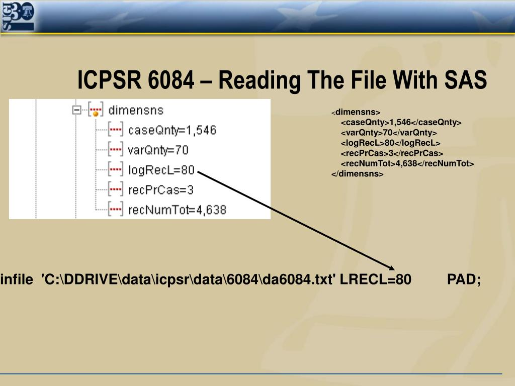 ICPSR 6084 – Reading The File With SAS