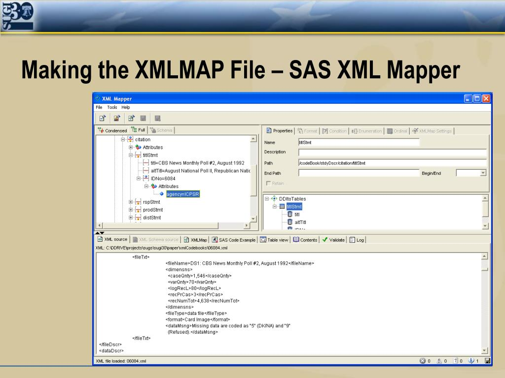 Making the XMLMAP File – SAS XML Mapper