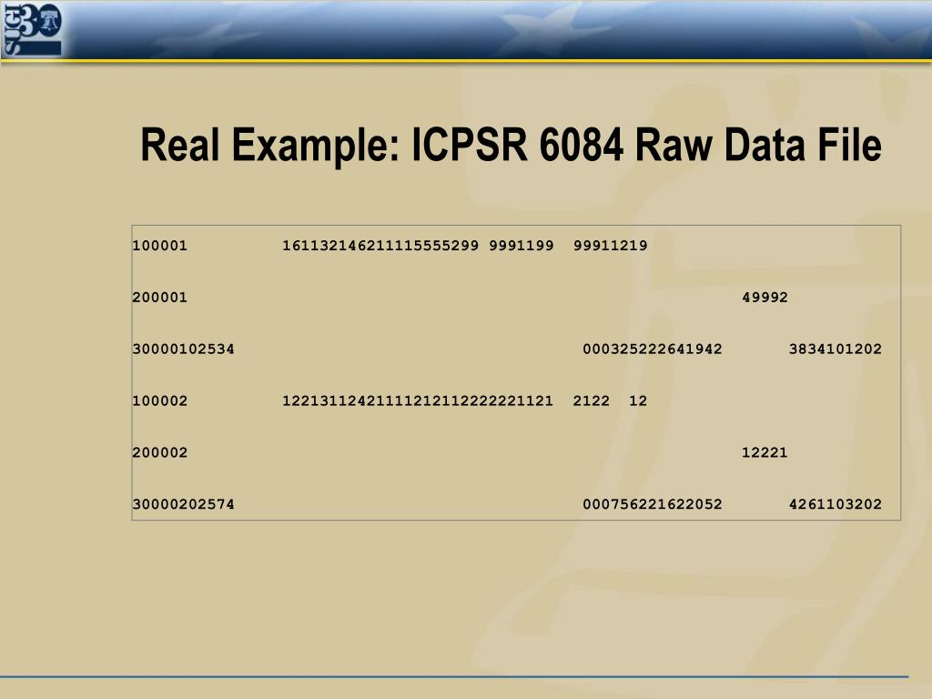 Real Example: ICPSR 6084 Raw Data File