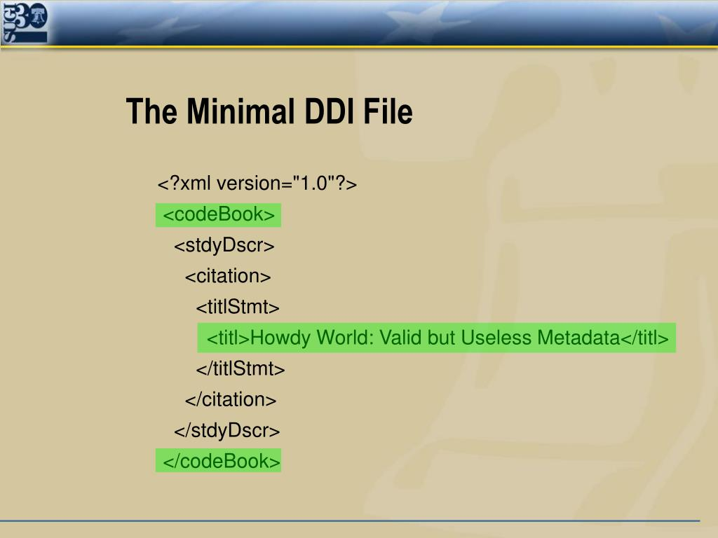 The Minimal DDI File