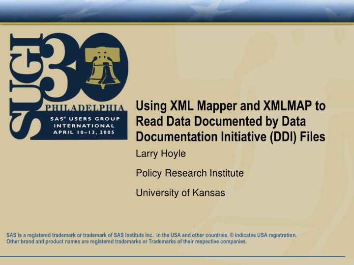 Using xml mapper and xmlmap to read data documented by data documentation initiative ddi files