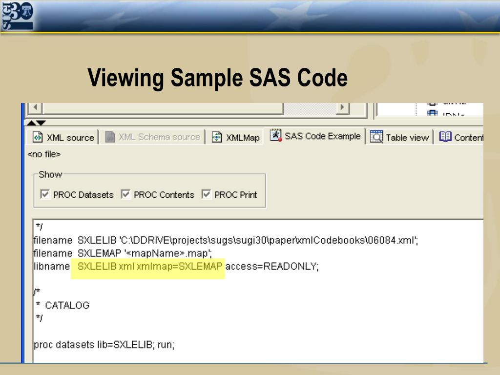 Viewing Sample SAS Code