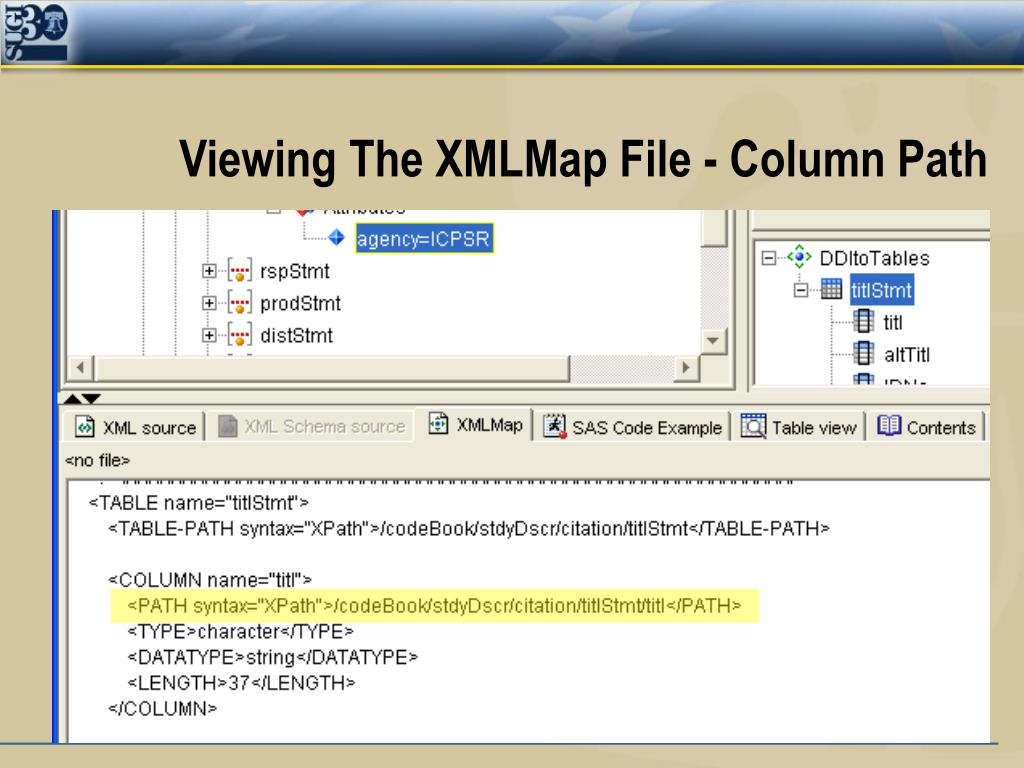 Viewing The XMLMap File - Column Path