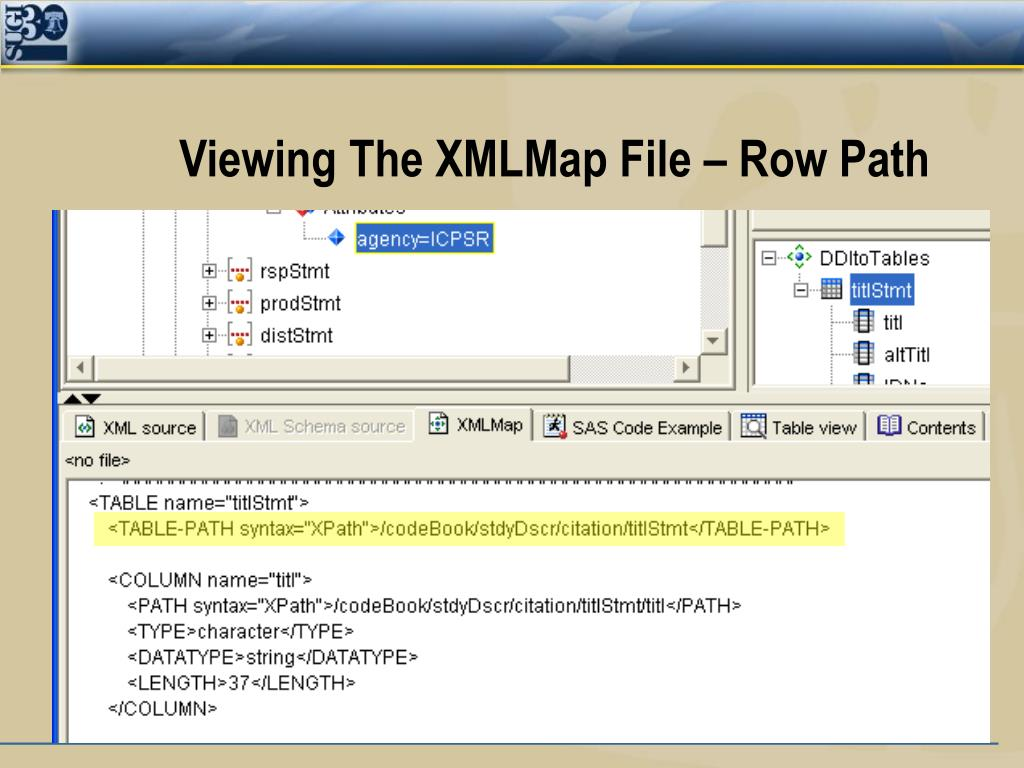 Viewing The XMLMap File – Row Path