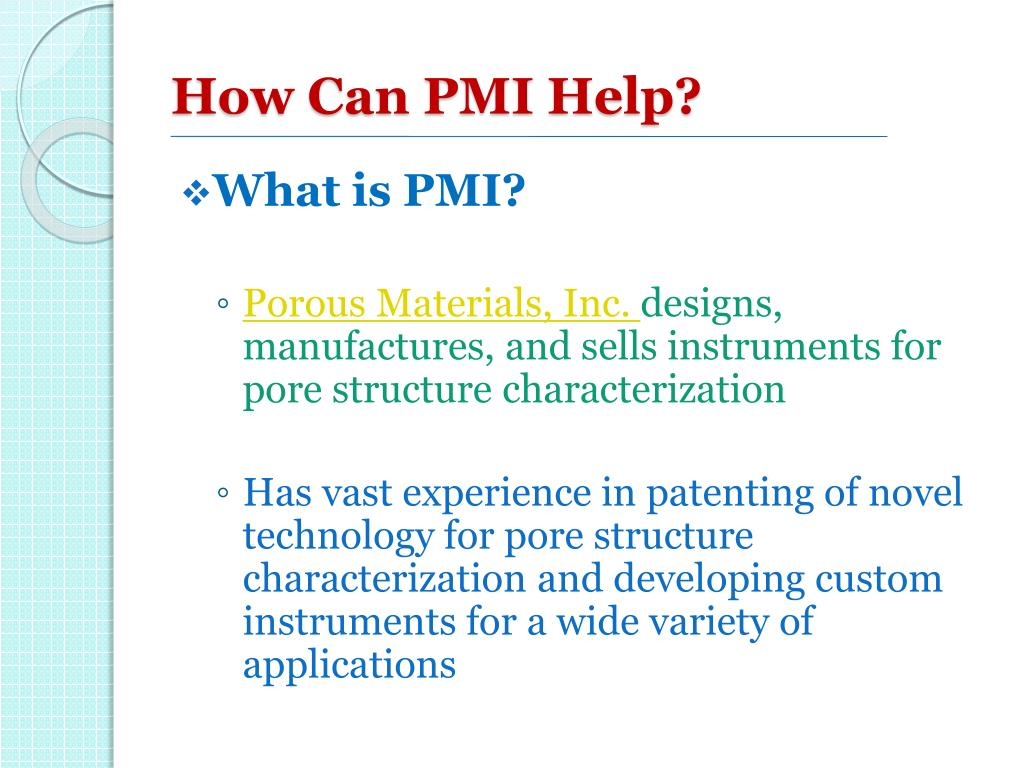How Can PMI Help?