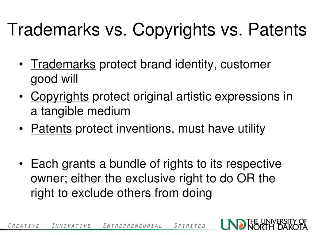 Trademarks vs. Copyrights vs. Patents