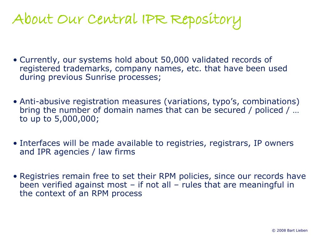 About Our Central IPR Repository