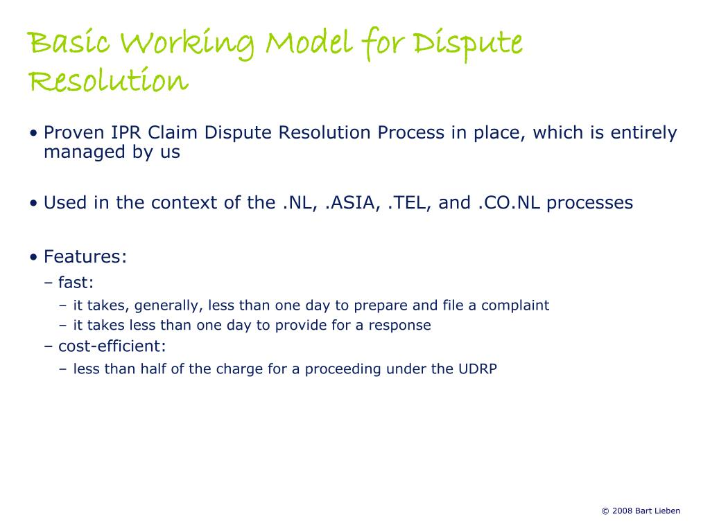 Basic Working Model for Dispute Resolution