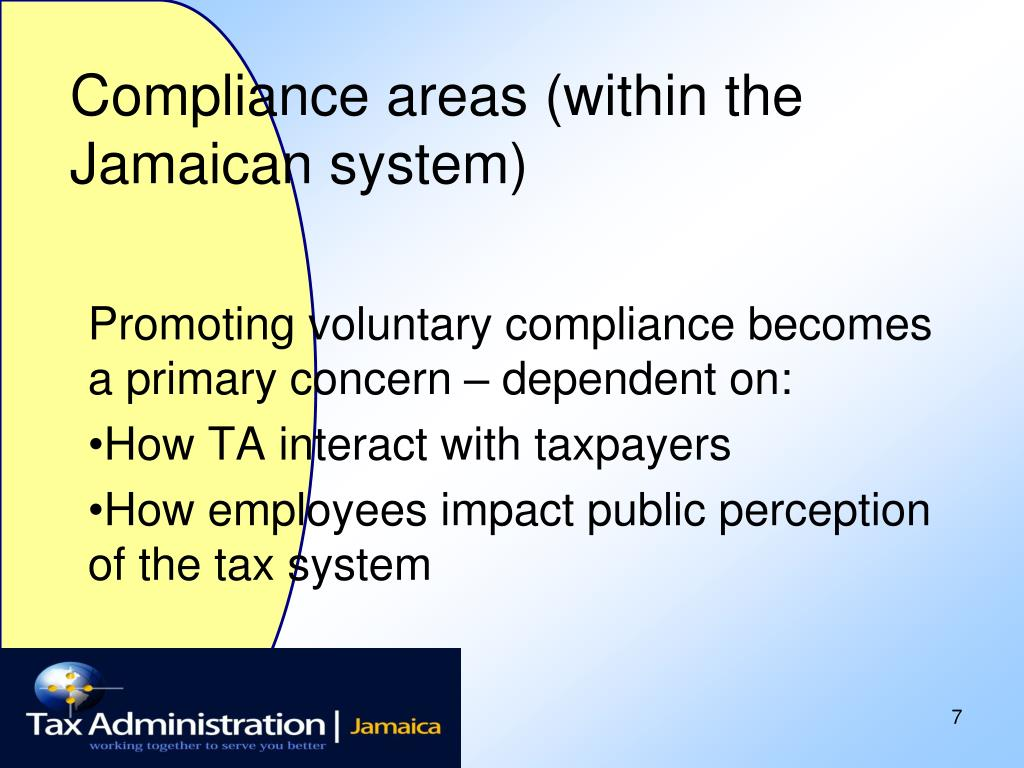 Compliance areas (within the Jamaican system)