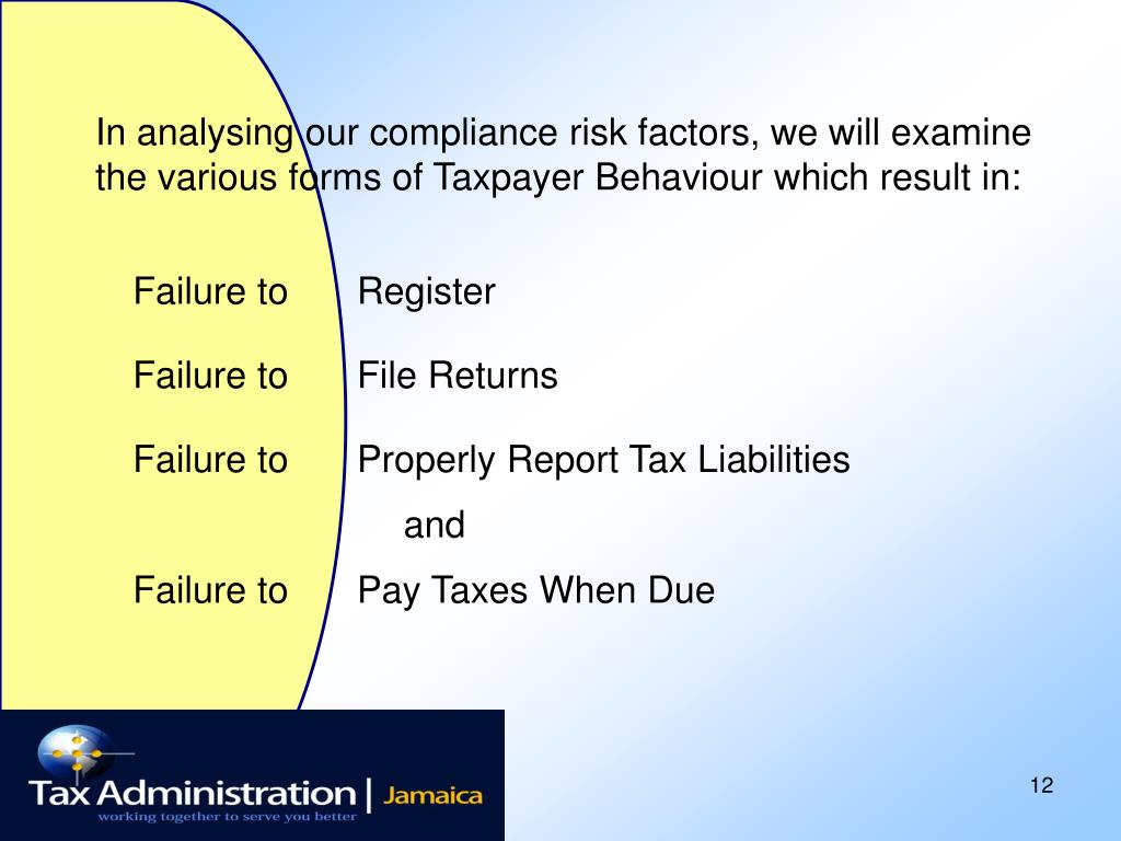 In analysing our compliance risk factors, we will examine the various forms of Taxpayer Behaviour which result in: