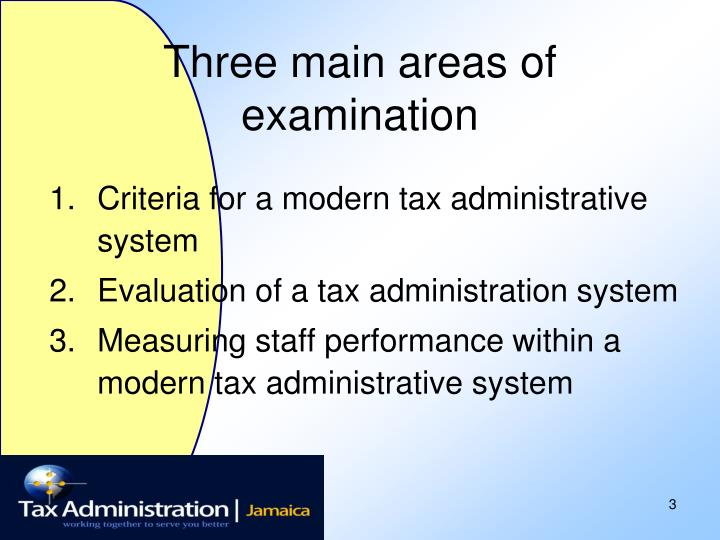 Three main areas of examination