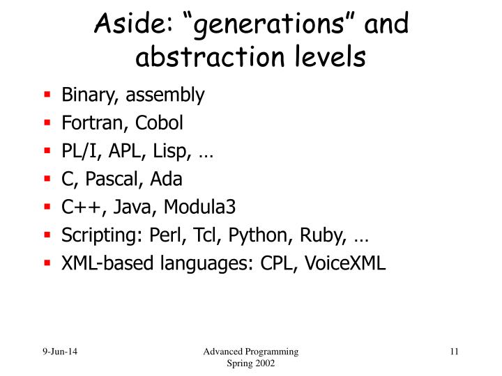 """Aside: """"generations"""" and abstraction levels"""