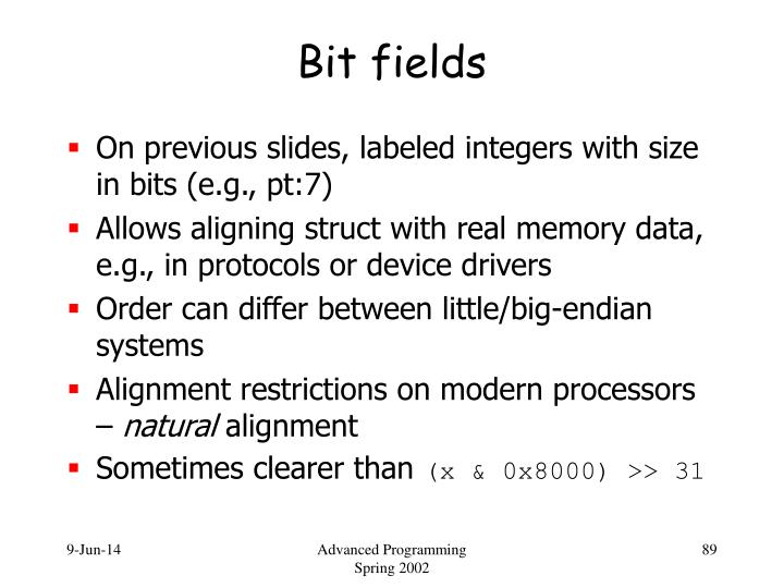 Bit fields