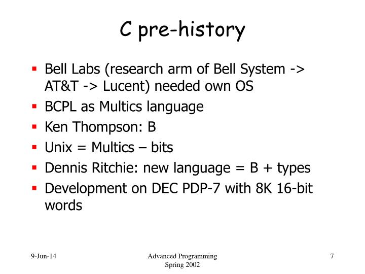 C pre-history
