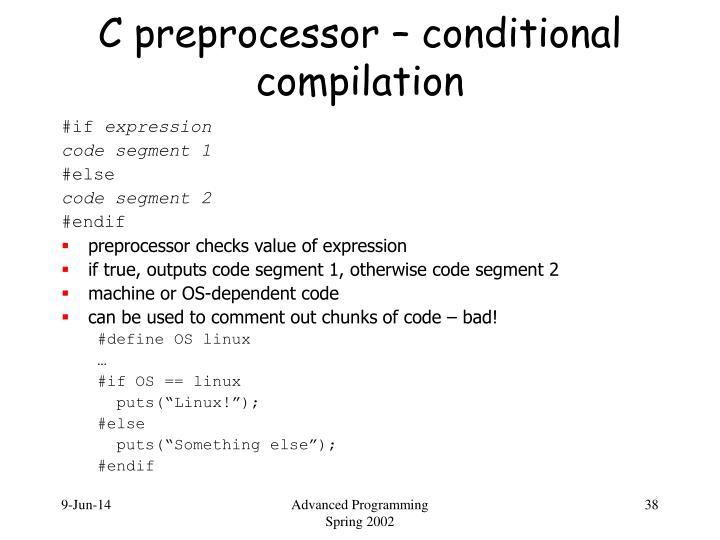 C preprocessor – conditional compilation