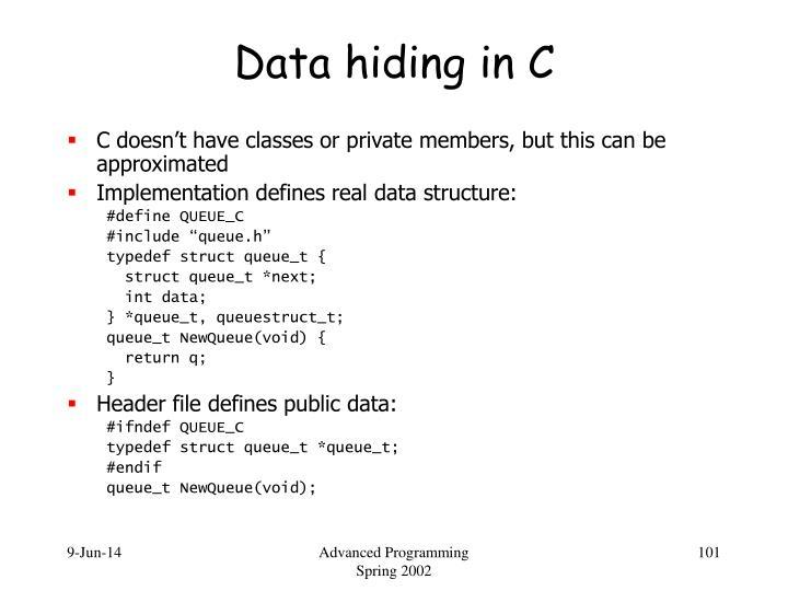 Data hiding in C
