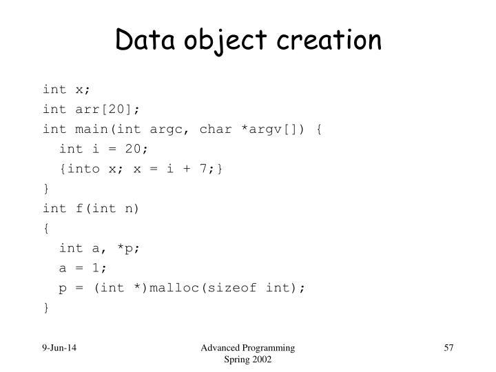 Data object creation