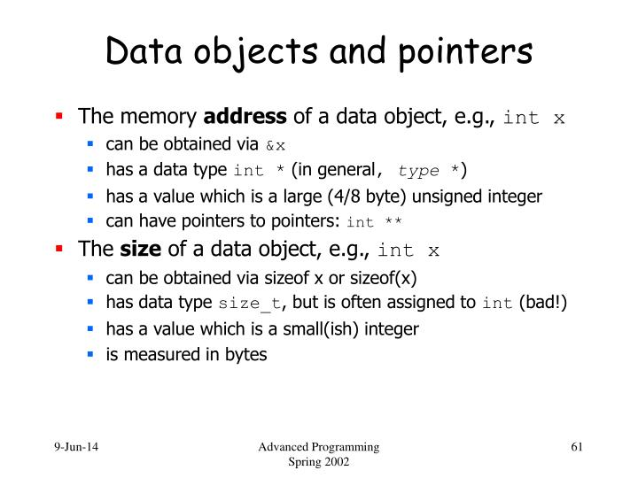 Data objects and pointers