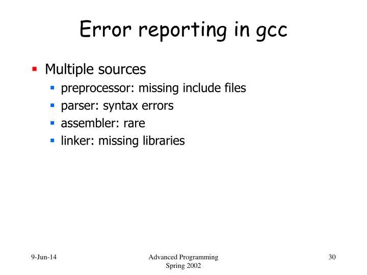 Error reporting in gcc