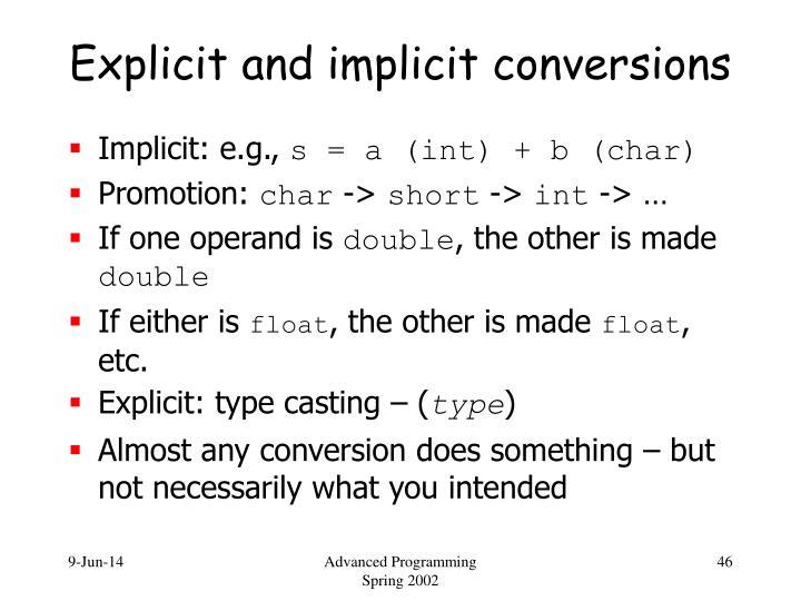 Explicit and implicit conversions