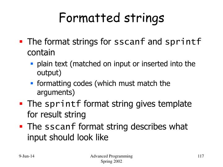 Formatted strings