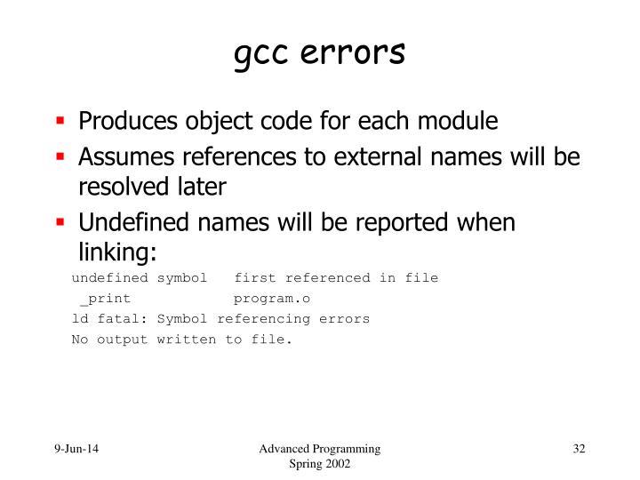 gcc errors