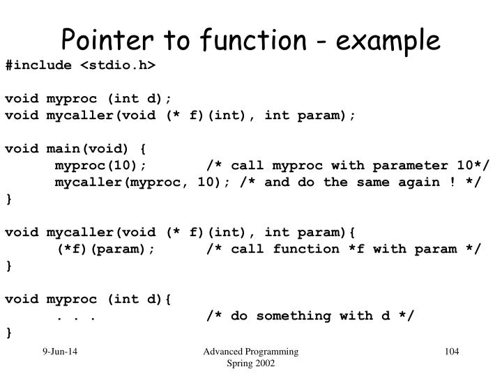 Pointer to function - example