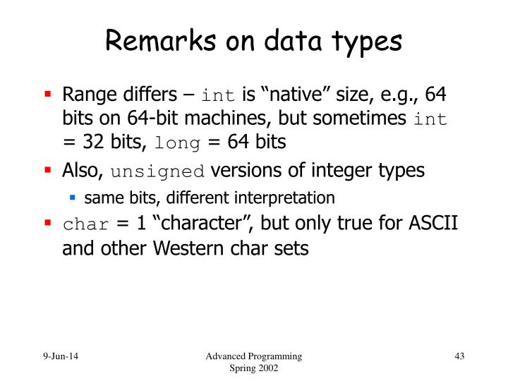 Remarks on data types