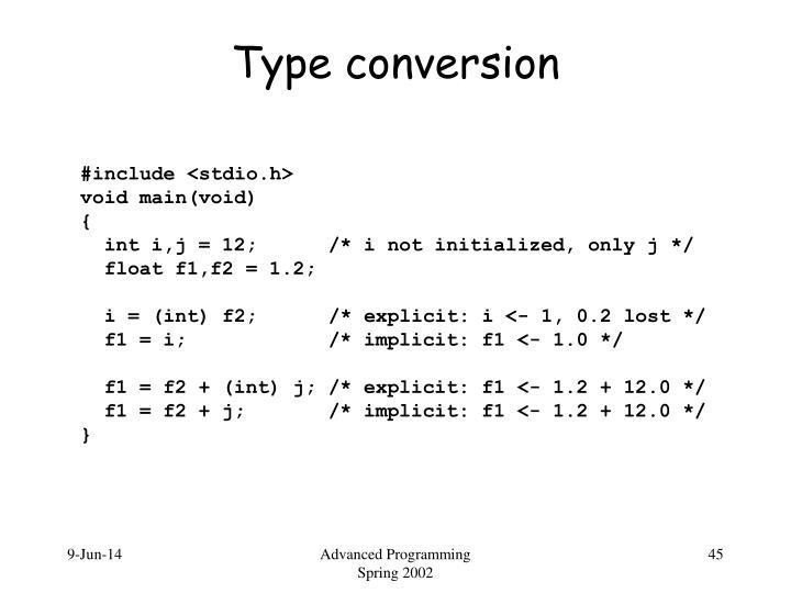 Type conversion