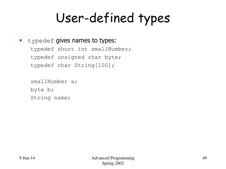 User-defined types