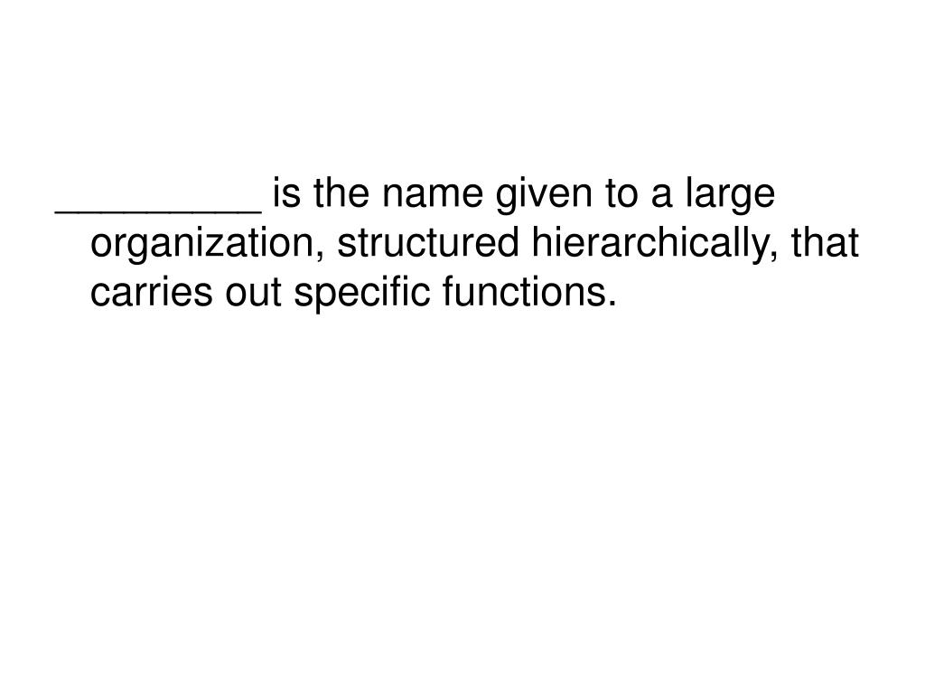 _________ is the name given to a large organization, structured hierarchically, that carries out specific functions.