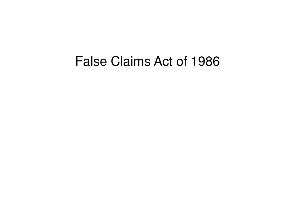 False Claims Act of 1986