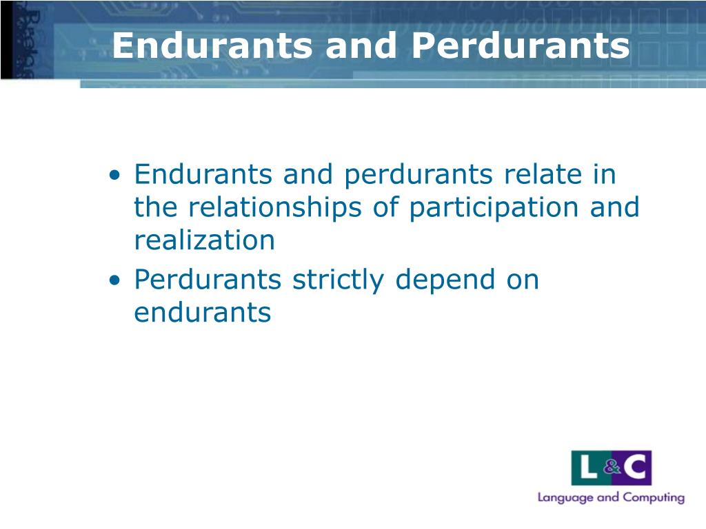 Endurants and Perdurants