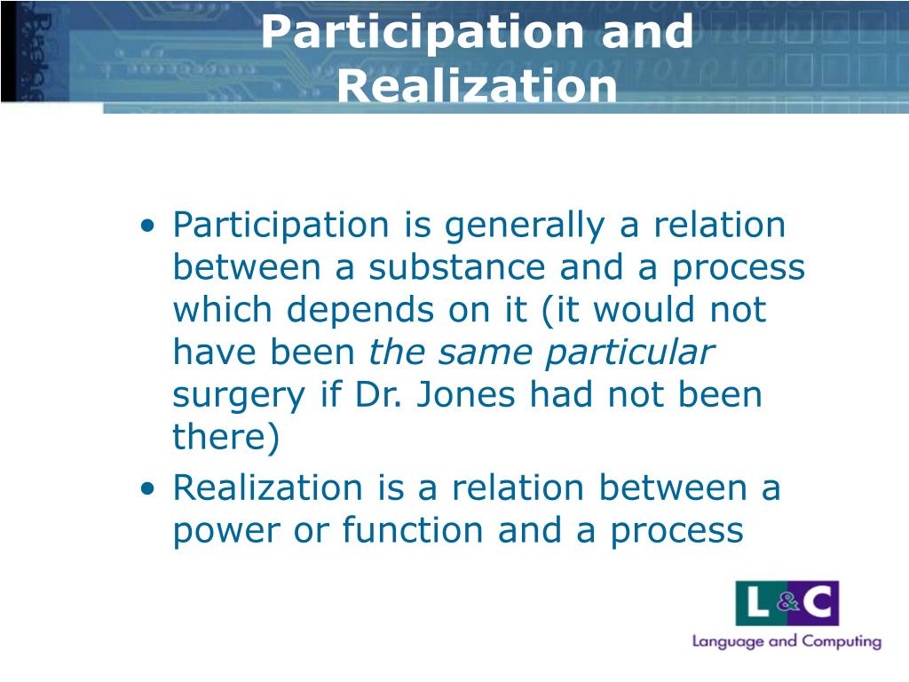 Participation and Realization