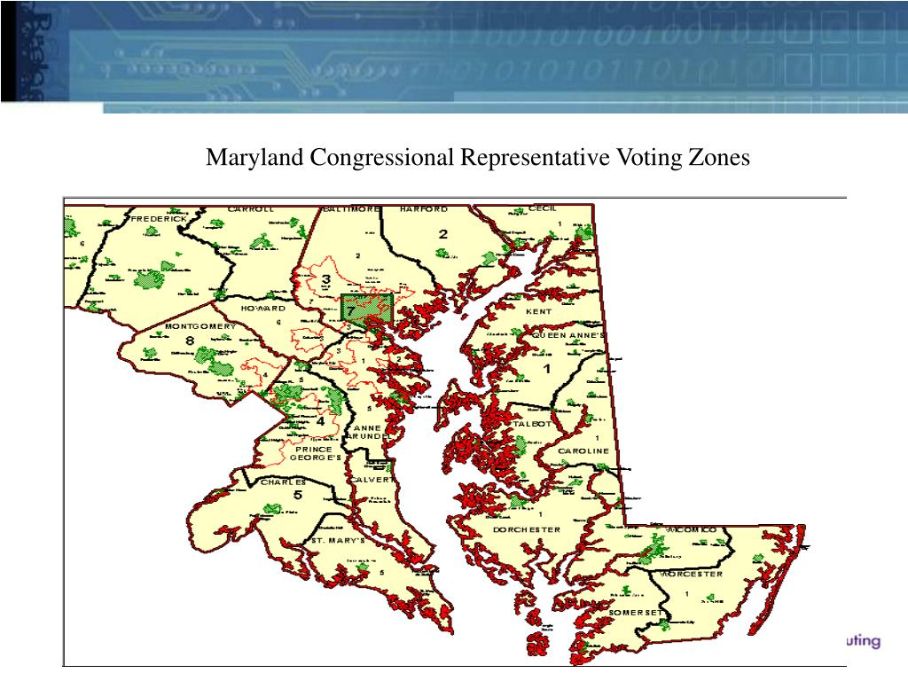 Maryland Congressional Representative Voting Zones