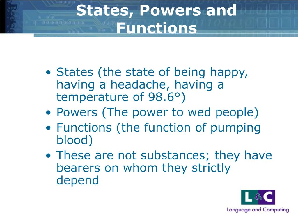 States, Powers and Functions