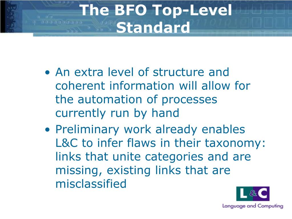 The BFO Top-Level Standard