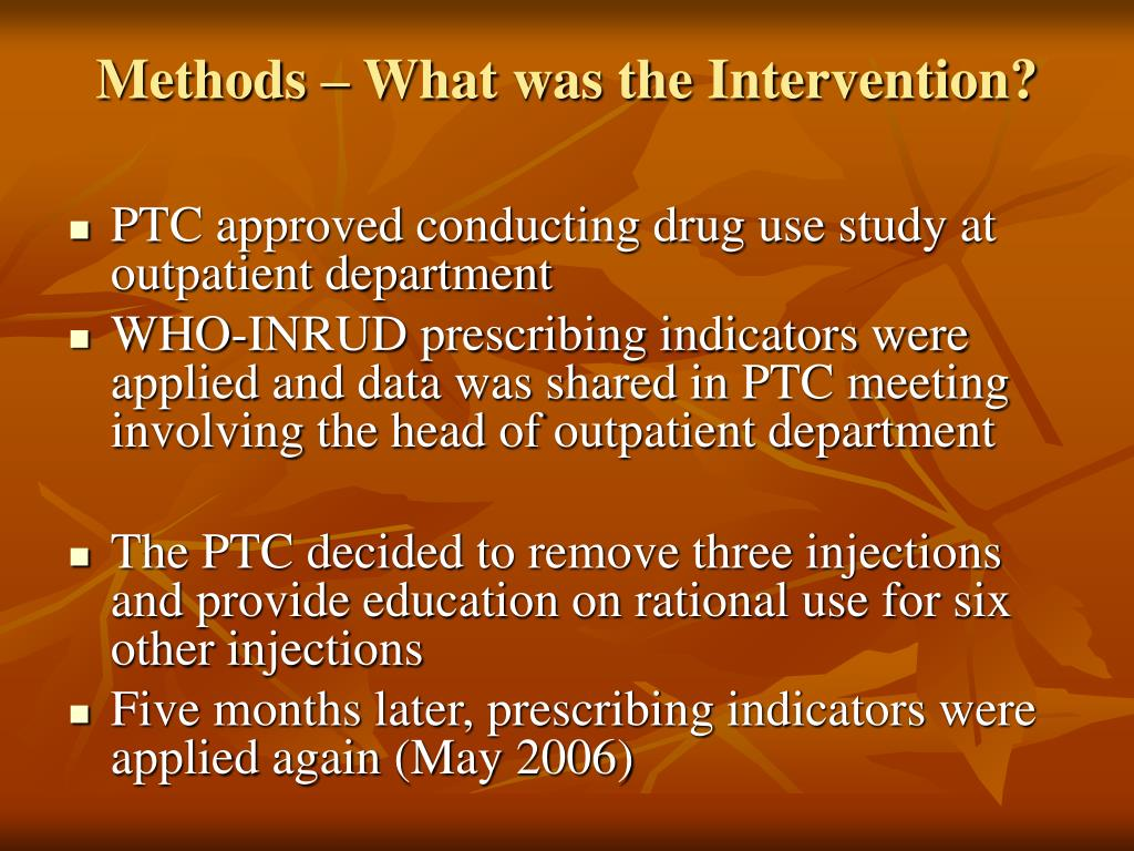 Methods – What was the Intervention?