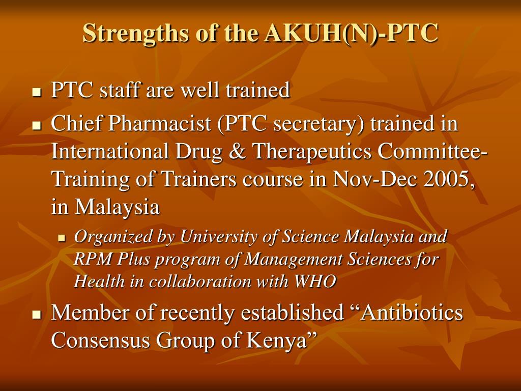Strengths of the AKUH(N)-PTC