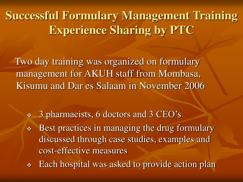 Successful Formulary Management Training