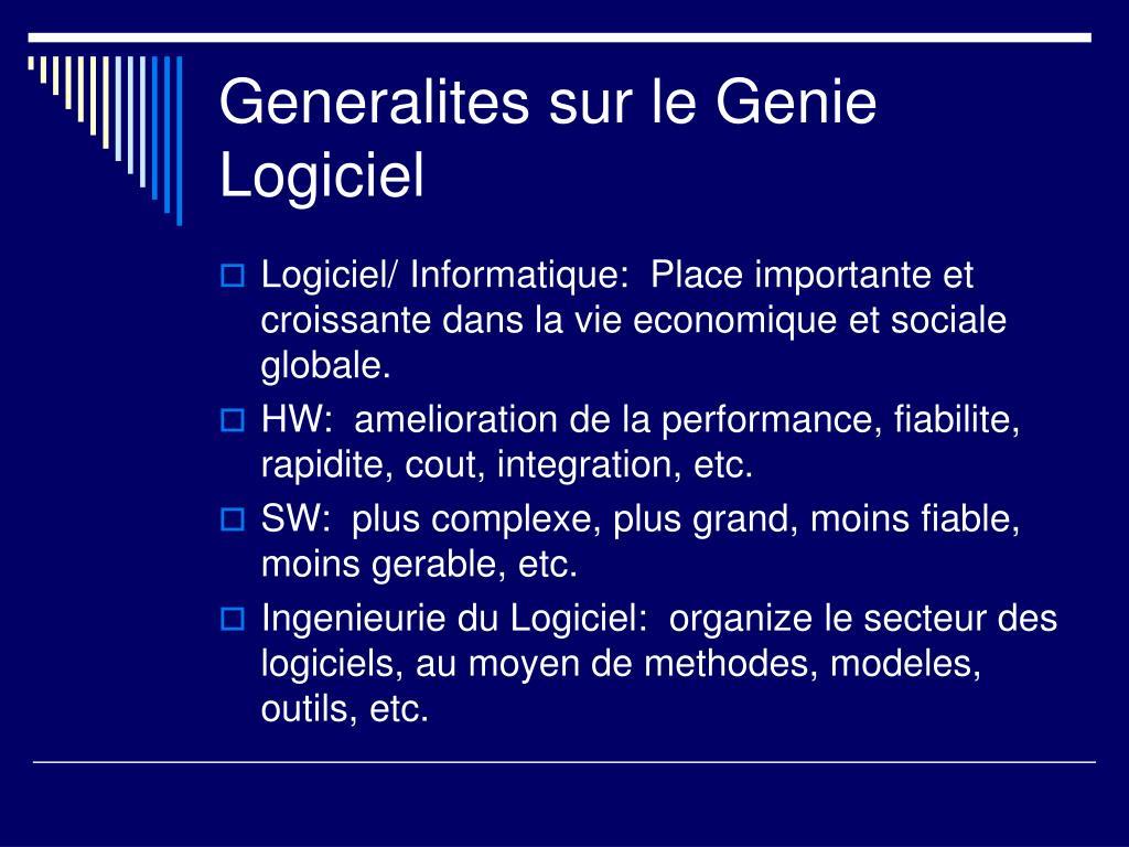 Generalites sur le Genie Logiciel
