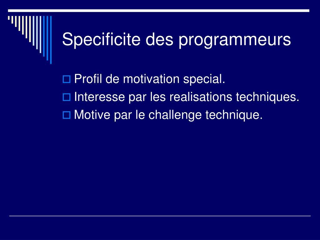 Specificite des programmeurs